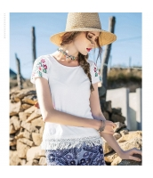 【Tシャツ】カットソー【半袖】レース切替【白】ホワイト【刺繍入り】夏物 rp12934-1