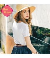 【Tシャツ】カットソー【半袖】ポタニカル【白】ホワイト【夏物】 rp12936-1