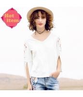 【Tシャツ】カットソー【長袖】白【ホワイト】刺繍入り【夏物】 rp12937-1