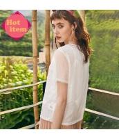 【ブラウス】半袖【花柄】白【ホワイト】シフォン【刺繍入り】夏物 rp12940-1
