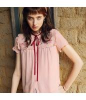 【ブラウス】半袖【桃色】ピンク【シフォン切替】刺繍入り【夏物】 rp12941-1