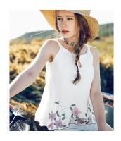 【キャミソール】白【ホワイト】シフォン【刺繍入り】夏物 rp12945-1