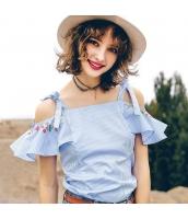 【ブラウス】半袖【オフショルダー】水色【ブルー】刺繍入り【夏物】 rp12949-1
