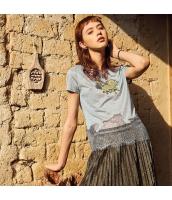 【Tシャツ】カットソー【半袖】イレギュラー裾【灰色】グレー【刺繍入り】夏物 rp12950-1