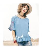 【ブラウス】半袖【デニムブラウス】水色【ブルー】刺繍入り【夏物】 rp12963-1