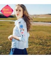 【ブラウス】七分袖【水色】ブルー【シフォン】刺繍入り【夏物】 rp12973-1