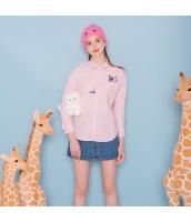 【シャツ】長袖【桃色】ピンク【刺繍入り】春物 rp12975-1