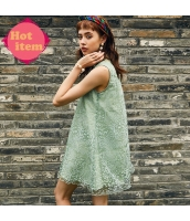 【ミニワンピース】袖なし【Aラインワンピース】ゆったり【立て襟】緑【グリーン】夏物 rp12982-1