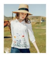 【シャツ】七分袖【白】ホワイト【シフォン】刺繍入り【夏物】 rp12983-1