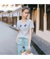 【ブラウス】半袖【水色】ブルー【レース】シフォン切替【刺繍入り】夏物 rp13006-1