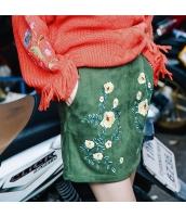 【タイトスカート】ミニスカート【スエード】花柄【緑】グリーン【刺繍入り】春物 rp13013-1