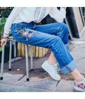 【ジーンズ・デニムパンツ】ロールアップ【フリンジ裾】青【ブルー】刺繍入り【春物】 rp13022-1