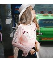 【シャツ】長袖【ワイド袖】桃色【ピンク】刺繍入り【春物】 rp13024-1