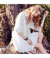 【ミニワンピース】七分袖丈【フレアワンピース】白【ホワイト】刺繍入り【夏物】 rp13025-1