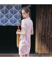 【ミニワンピース】半袖【タイトワンピース】チャイナードレス風【桃色】ピンク【刺繍入り】夏物 rp13029-1