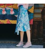 【フレアスカート】膝下スカート【裏地あり】青【ブルー】夏物 rp13030-1