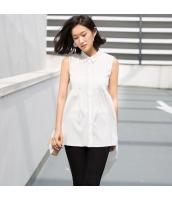 【シャツ】ノースリーブ【ハイロー裾】夏物【白色】ホワイト rp13040-1