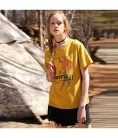 【Tシャツ】カットソー【半袖】刺繍入り【ゆったり】夏物【黄色い】イエロー rp13042-2
