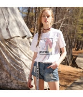 【Tシャツ】カットソー【半袖】刺繍入り【ゆったり】夏物【白】ホワイト rp13042-4