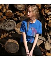 【Tシャツ】カットソー【半袖】刺繍入り【ゆったり】夏物【青】ブルー rp13042-5
