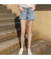【ジーンズ・デニムパンツ】ショートパンツ・ホットパンツ【ダメージ入り】フリンジ裾【夏物】青【ブルー】 rp13043-1