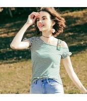 【Tシャツ】カットソー【半袖】刺繍入り【非対称襟】ボーダー柄【夏物】緑【グリーン】 rp13045-1