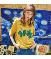 【Tシャツ】カットソー【半袖】ワッペン刺繍【夏物】黄色い【イエロー】 rp13046-1
