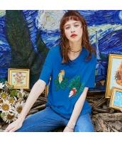 【Tシャツ】カットソー【半袖】ワッペン刺繍【夏物】青【ブルー】 rp13046-3