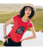 【Tシャツ】カットソー【半袖】ワッペン刺繍【夏物】赤【レッド】 rp13048-1
