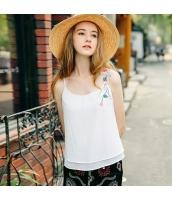 【キャミソール】刺繍入り【シフォン】夏物【白】ホワイト rp13050-1