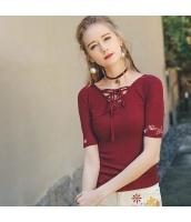 【ニットウェア】セーター【半袖】刺繍入り【薄手】夏物【赤】レッド rp13052-1