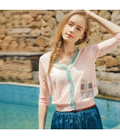 【カーディガン】ニットウェア【七分袖】夏物【桃色】ピンク rp13055-2