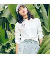 【シャツ】七分袖【刺繍入り】夏物【白】ホワイト rp13058-1