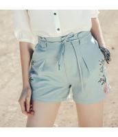 【ショートパンツ】ホットパンツ【刺繍入り】夏物【水色】ブルー rp13059-1