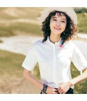 【シャツ】半袖【刺繍入り】夏物【白色】ホワイト rp13067-1