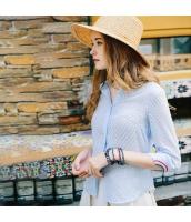 【シャツ】七分袖【刺繍入り】シフォン【夏物】水色【ブルー】 rp13073-1