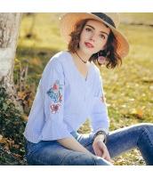 【シャツ】七分袖【刺繍入り】夏物【白】ブルー rp13074-1