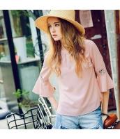 【ブラウス】七分袖【ワイド袖】シフォン【夏物】桃色【ピンク】 rp13075-1
