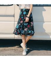 【フレアスカート】膝下スカート【シフォン切替】夏物【花柄】マルチカラー rp13078-1