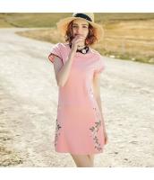 【ミニワンピース】半袖【フレアワンピース】刺繍入り【夏物】桃色【ピンク】 rp13082-1
