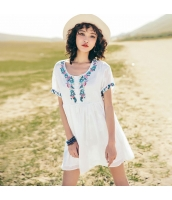 【チュニック】半袖【刺繍入り】シフォン【夏物】白【ホワイト】 rp13090-1