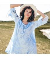 【アンサンブル】チュニック【長袖】重ね着2点セット【刺繍入り】夏物【水色】ブルー rp13095-1