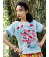 【即納】Tシャツ/カットソー/シースルー刺繍入りアウター付き2点セット/インナー無地クルーネック-rp4312【カラー:ライトブルー】【サイズ:XL】