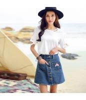 ガーベラ ハイウエスト 刺繍 ポケット ショートスカート シングルボタン デニム スカート rp9034-1
