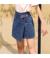 ガーベラ ハイウエスト 刺繍 ショートスカート ファスナー 洗ぃ デニム スカート rp9114-1
