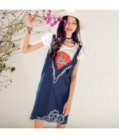 ガーベラ 刺繍 ショートフリンジ ストラップ スカート 洗ぃ デニム 袖なし ワンピース rp9128-1