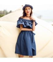 ガーベラ ゴム入りの ボートネック 刺繍 Aライン スカート ベアトップ デニム ワンピース rp9146-1