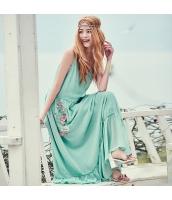 ガーベラ Vネック 刺繍 キャミワンピ 袖なし シフォン ワンピース rp9160-1
