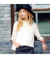 ガーベラレディース シャツ 七分袖 スタンドカラー 刺繍 シフォン rp9253-1