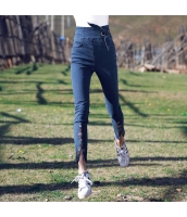 ガーベラレディース ジーンズ デニムパンツ スキニーパンツ ハイウエスト 刺繍 着やせ 脚口スリット 着やせ rp9282-1